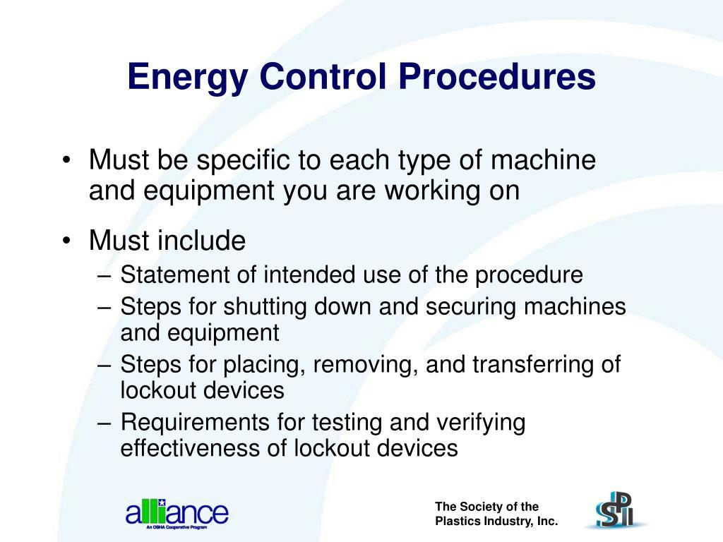 Energy Control Procedures