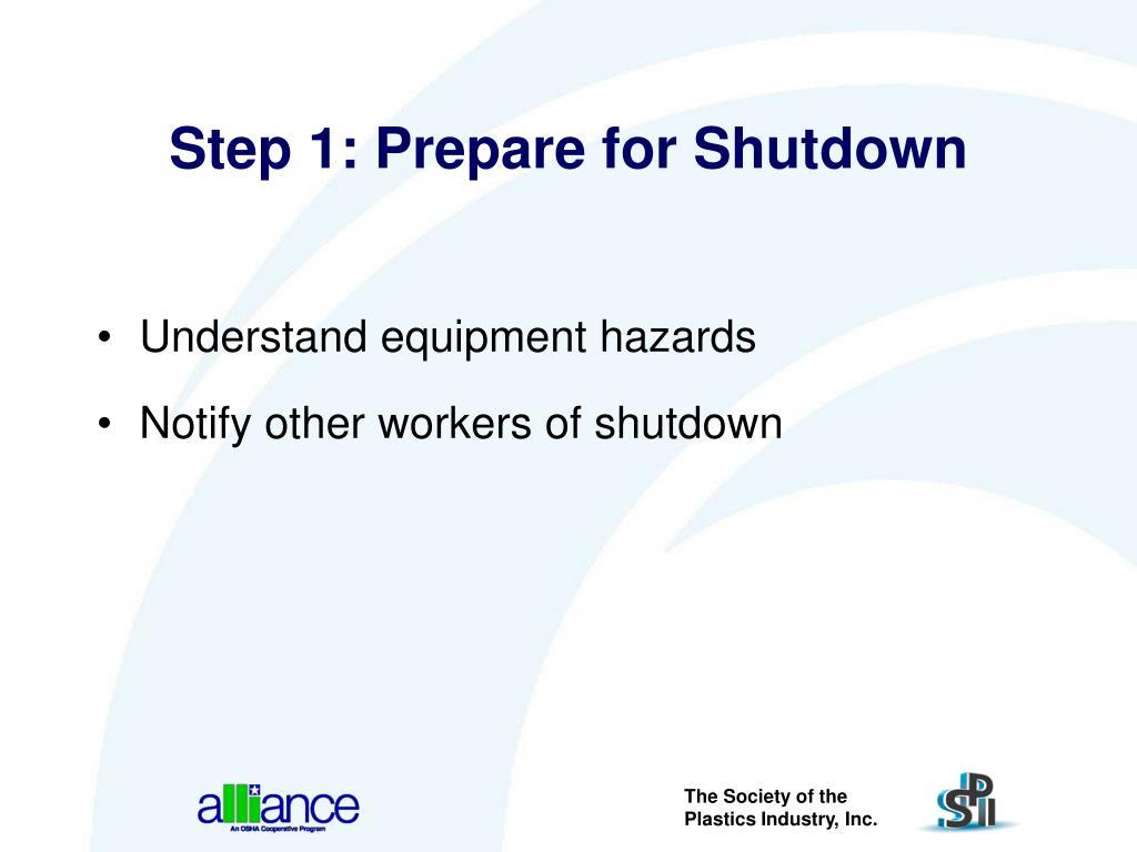 Step 1: Prepare for Shutdown