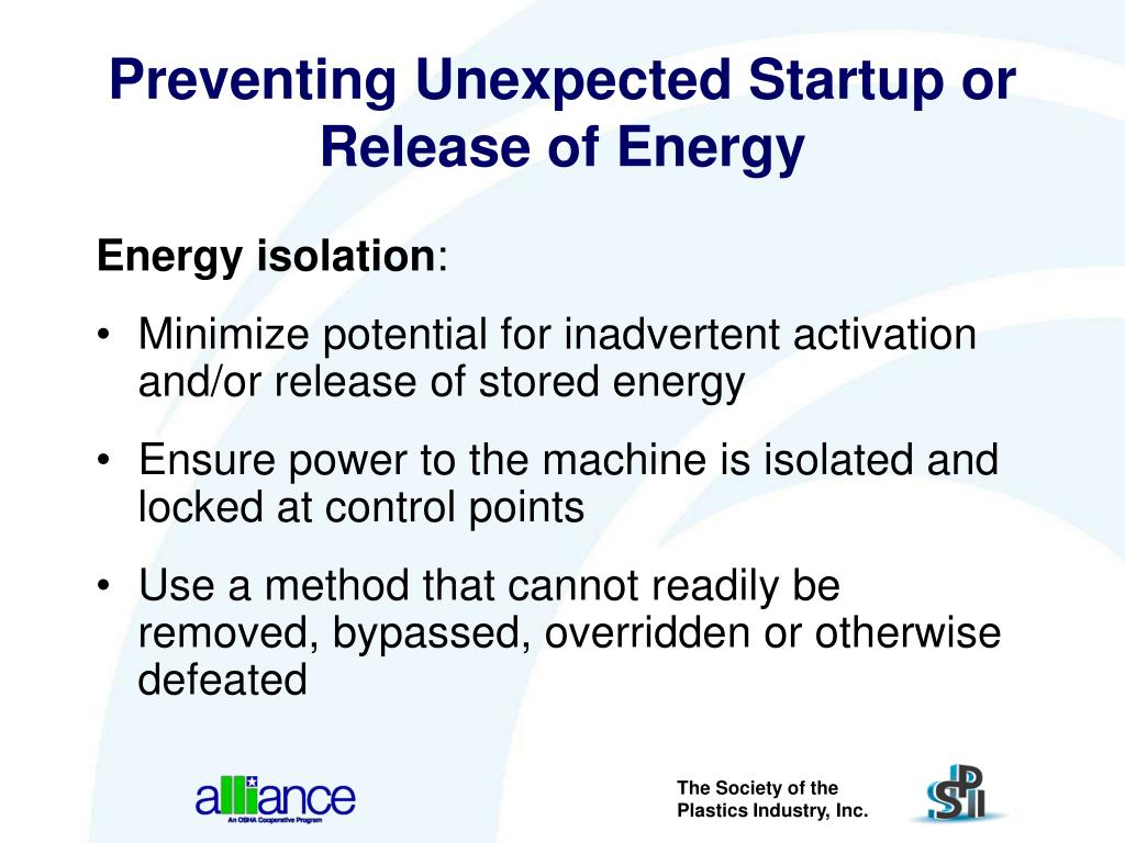 Preventing Unexpected Startup or Release of Energy