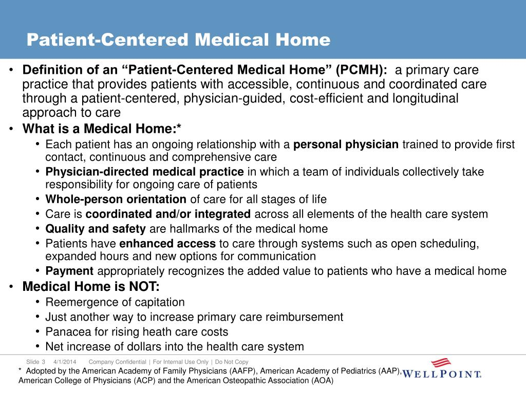 "Definition of an ""Patient-Centered Medical Home"" (PCMH):"