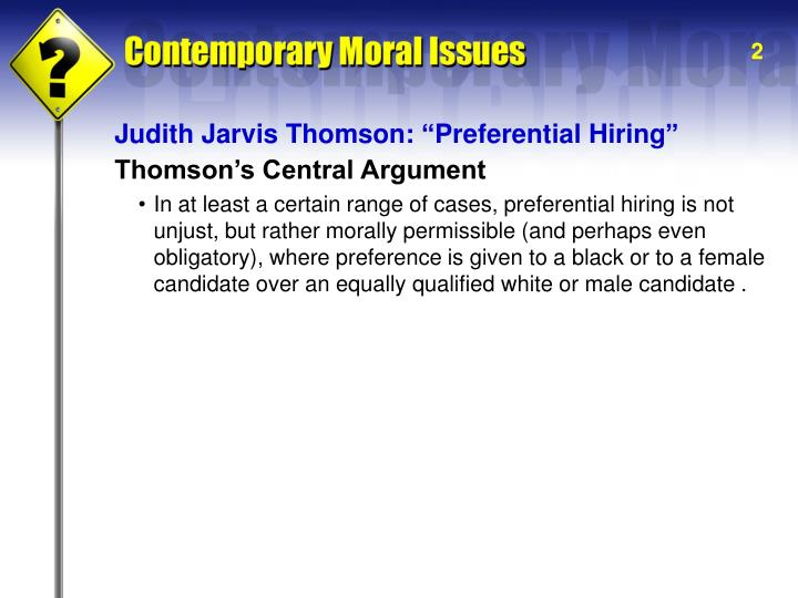 "Judith Jarvis Thomson: ""Preferential Hiring"""