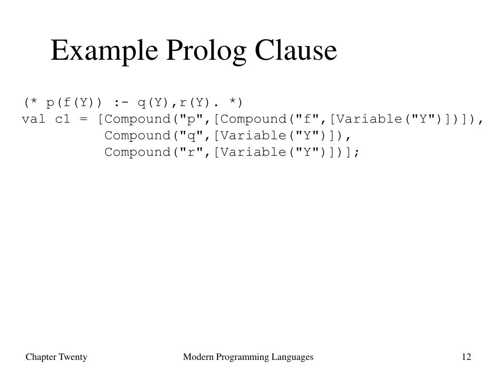 Example Prolog Clause