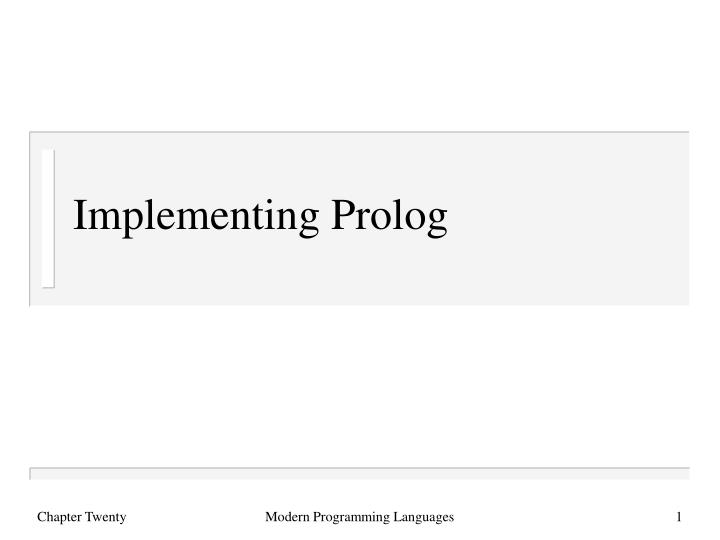 Implementing prolog