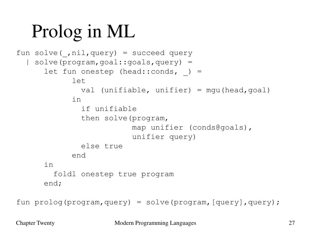 Prolog in ML