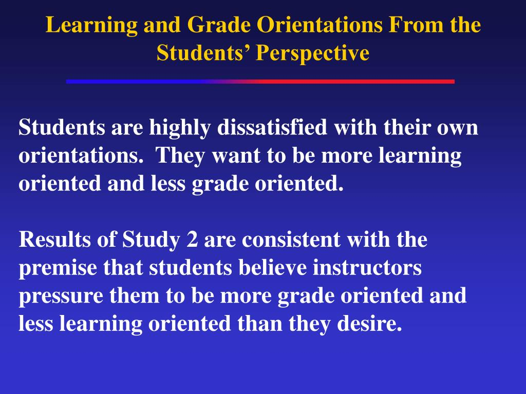 Learning and Grade Orientations From the Students' Perspective
