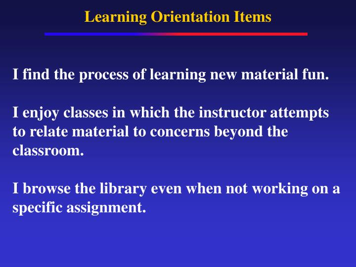 Learning Orientation Items