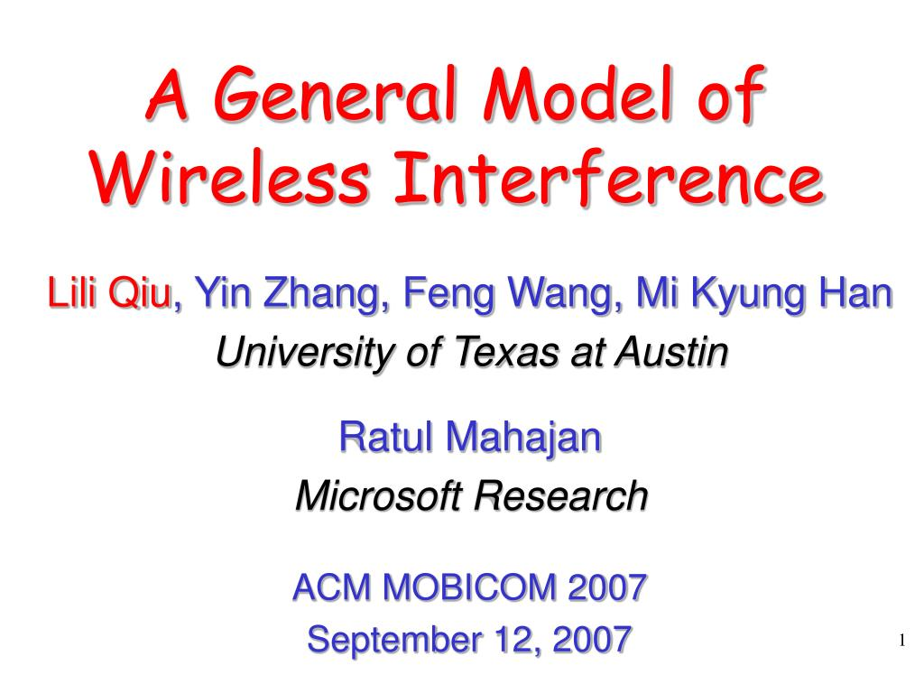 a general model of wireless interference