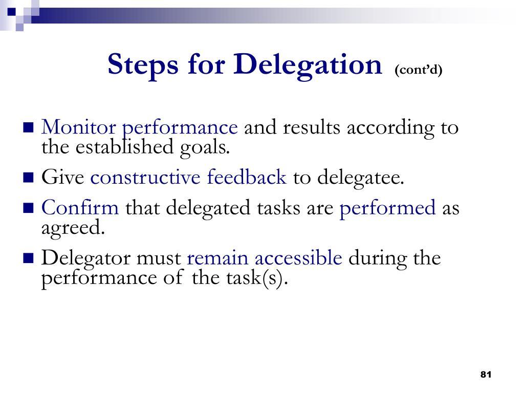 Steps for Delegation