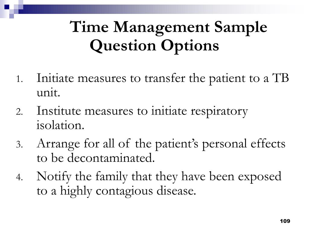 Time Management Sample Question Options