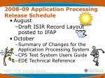 2008 09 application processing release schedule