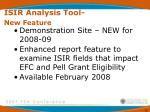 isir analysis tool new feature