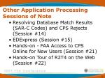 other application processing sessions of note