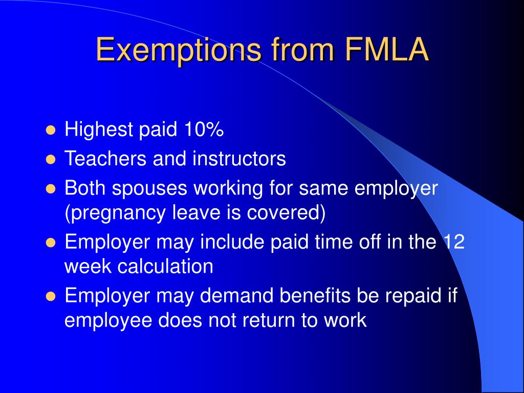 Exemptions from FMLA