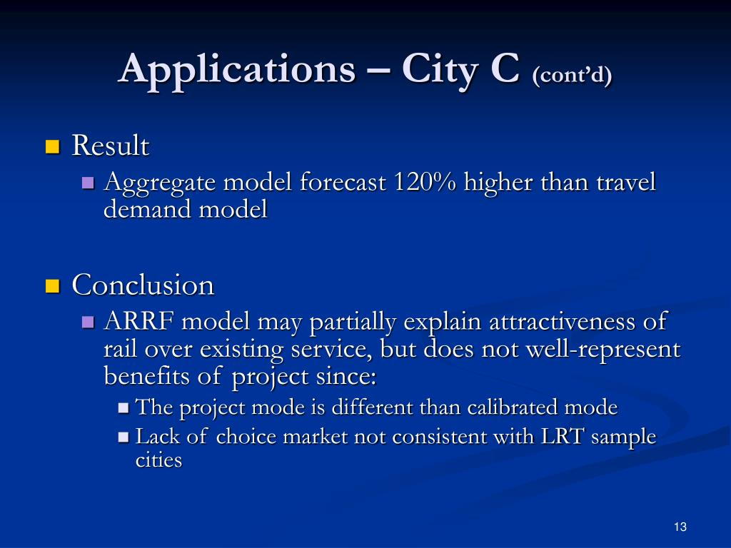 Applications – City C