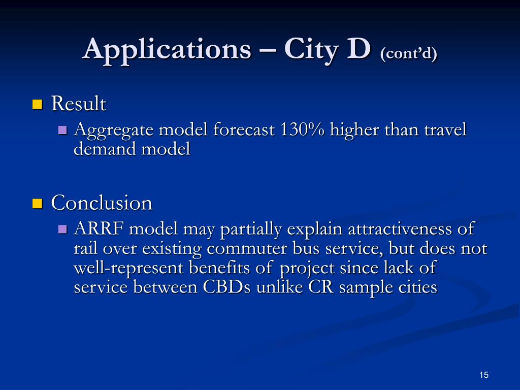 Applications – City D