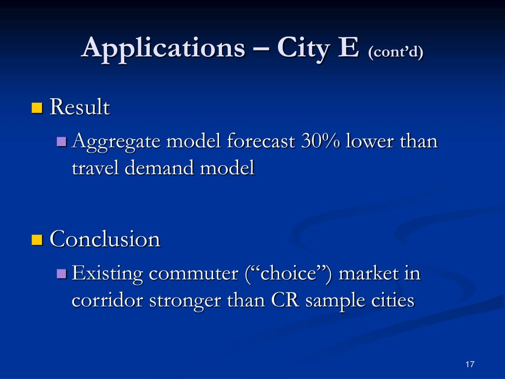 Applications – City E