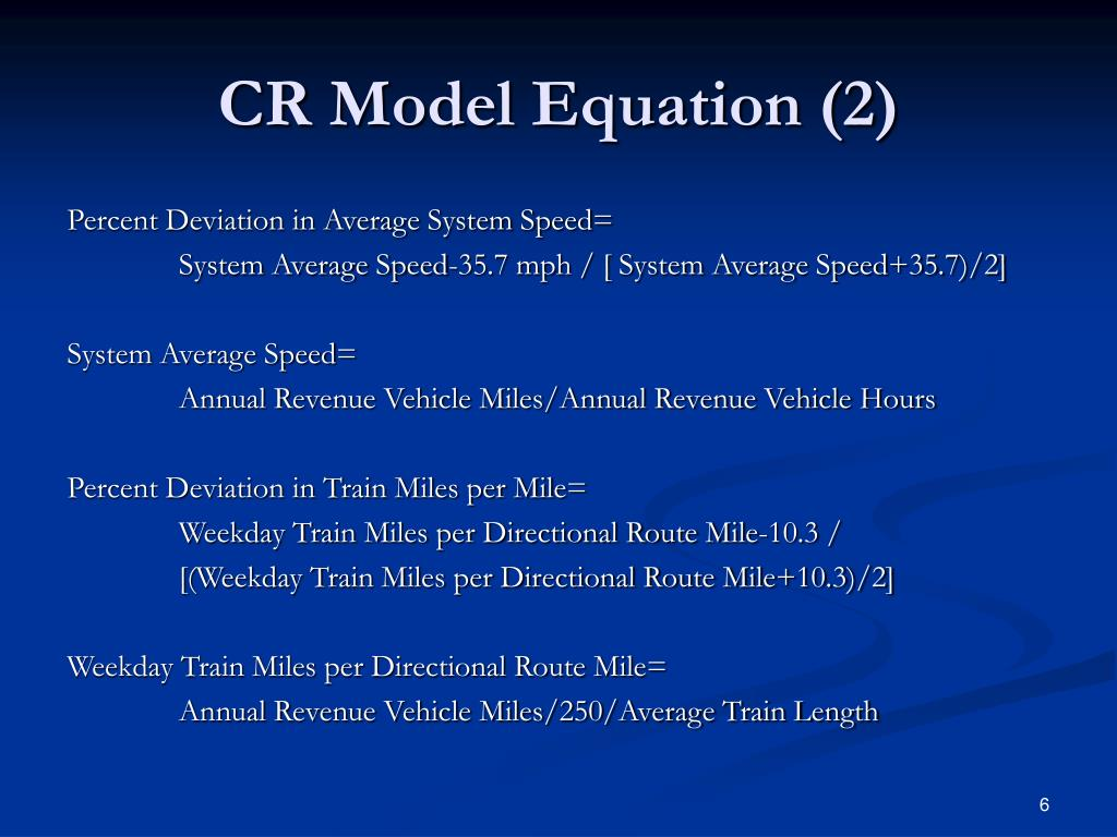 CR Model Equation (2)
