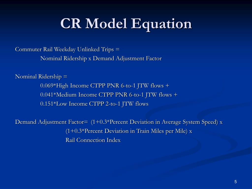 CR Model Equation