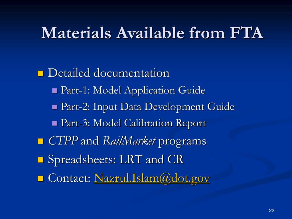 Materials Available from FTA