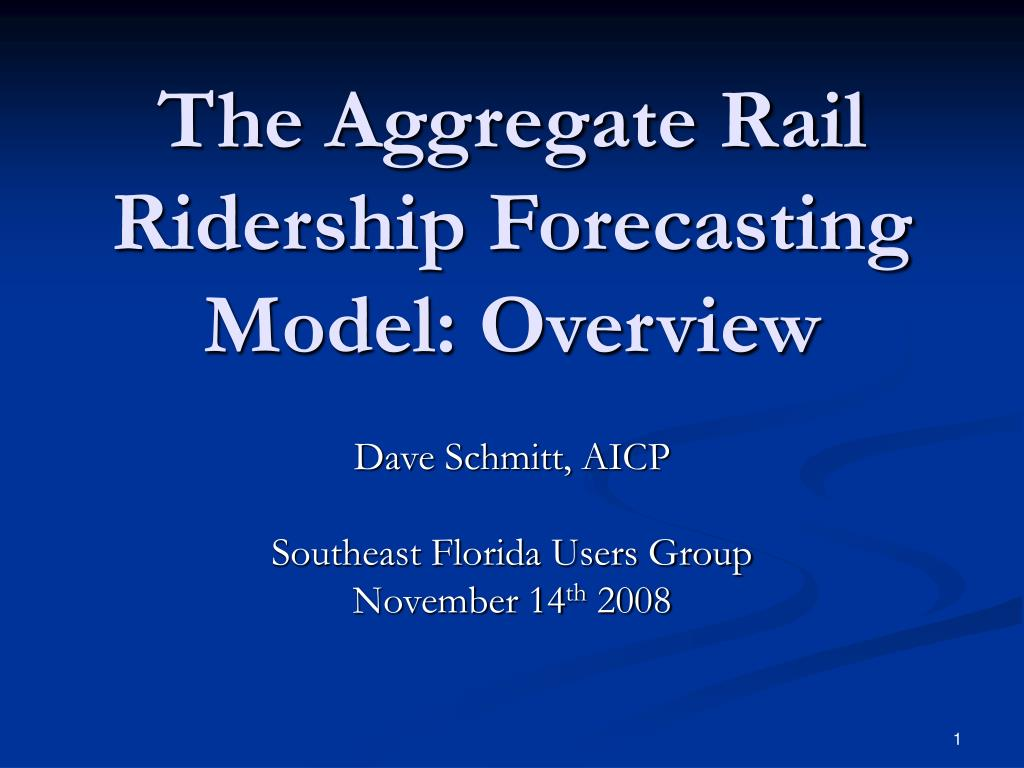The Aggregate Rail Ridership Forecasting Model: Overview