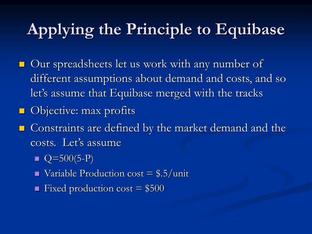 Applying the Principle to Equibase