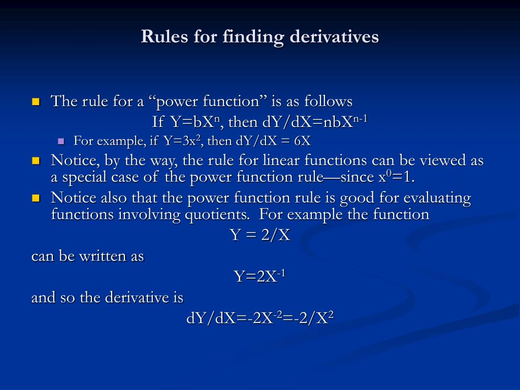 Rules for finding derivatives