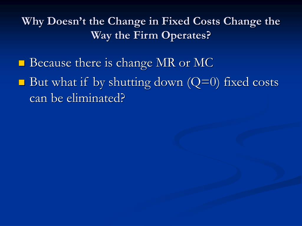 Why Doesn't the Change in Fixed Costs Change the Way the Firm Operates?