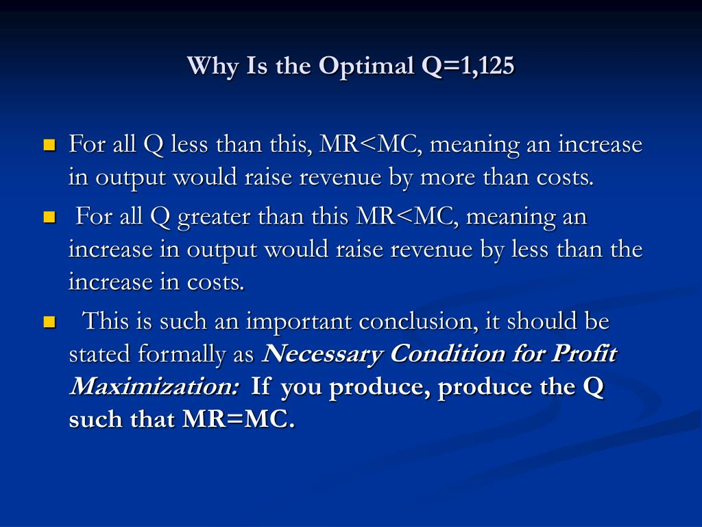 Why Is the Optimal Q=1,125