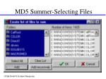 md5 summer selecting files