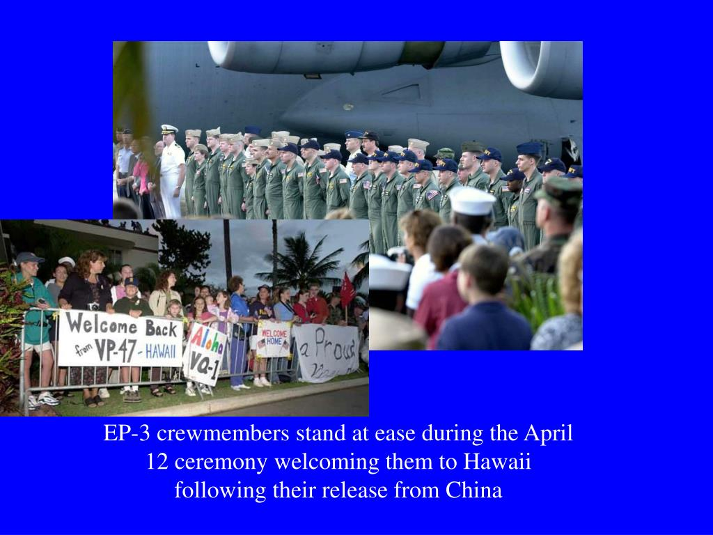 EP-3 crewmembers stand at ease during the April 12 ceremony welcoming them to Hawaii following their release from China