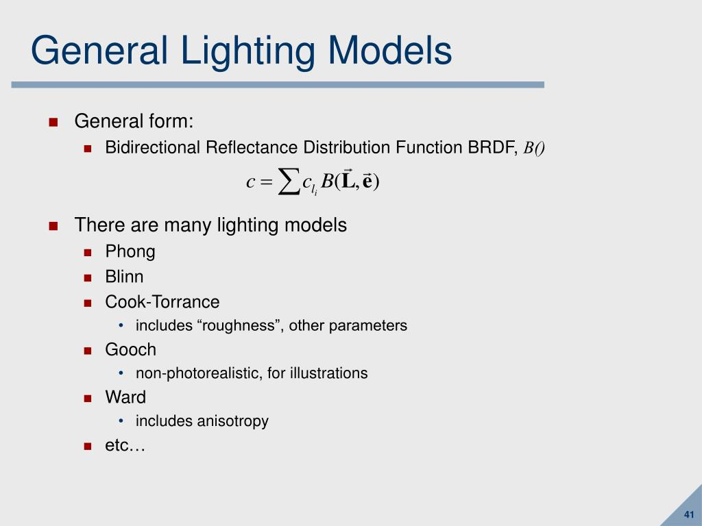 General Lighting Models