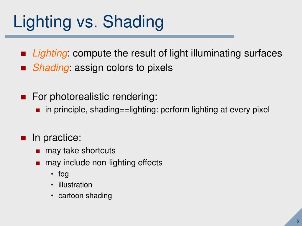 Lighting vs. Shading