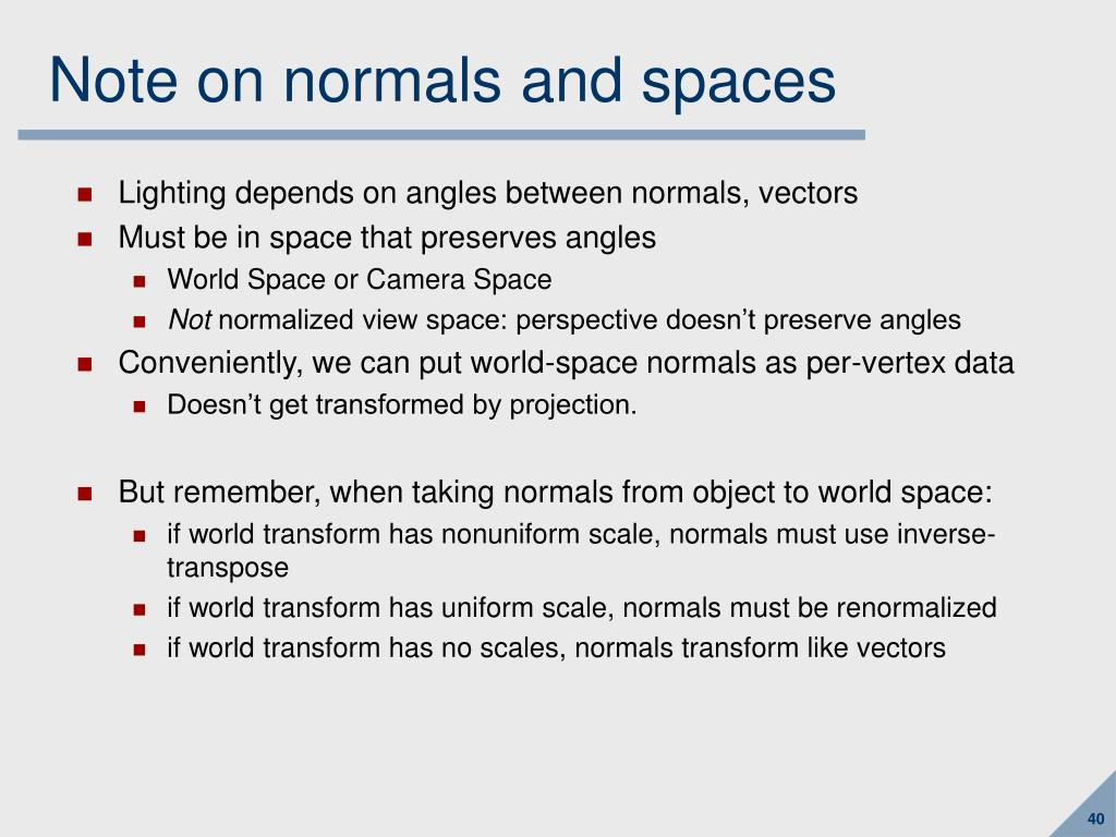 Note on normals and spaces