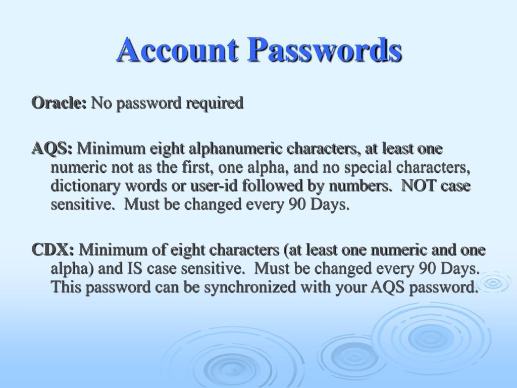 Account Passwords