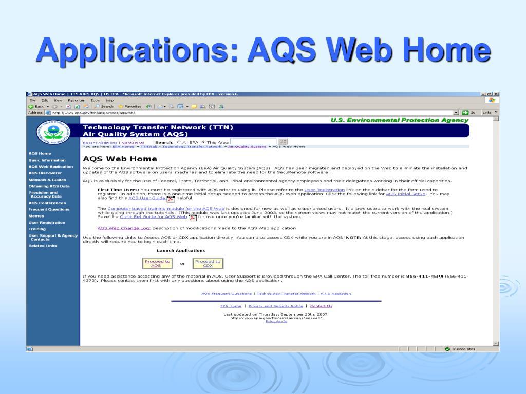 Applications: AQS Web Home