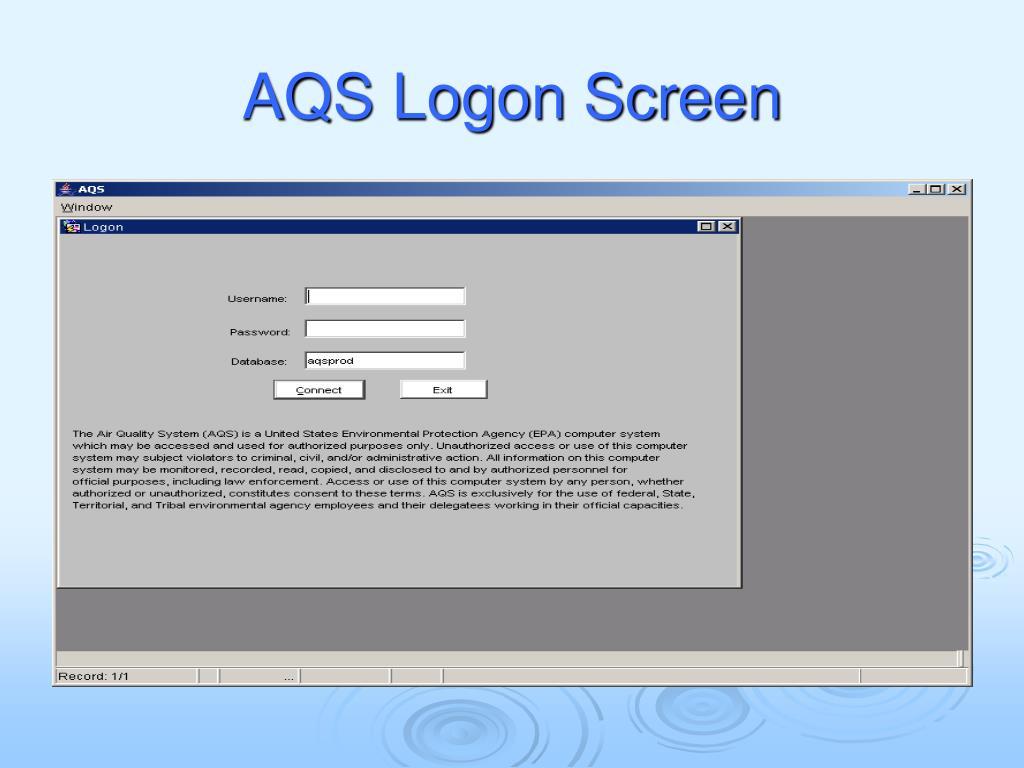 AQS Logon Screen