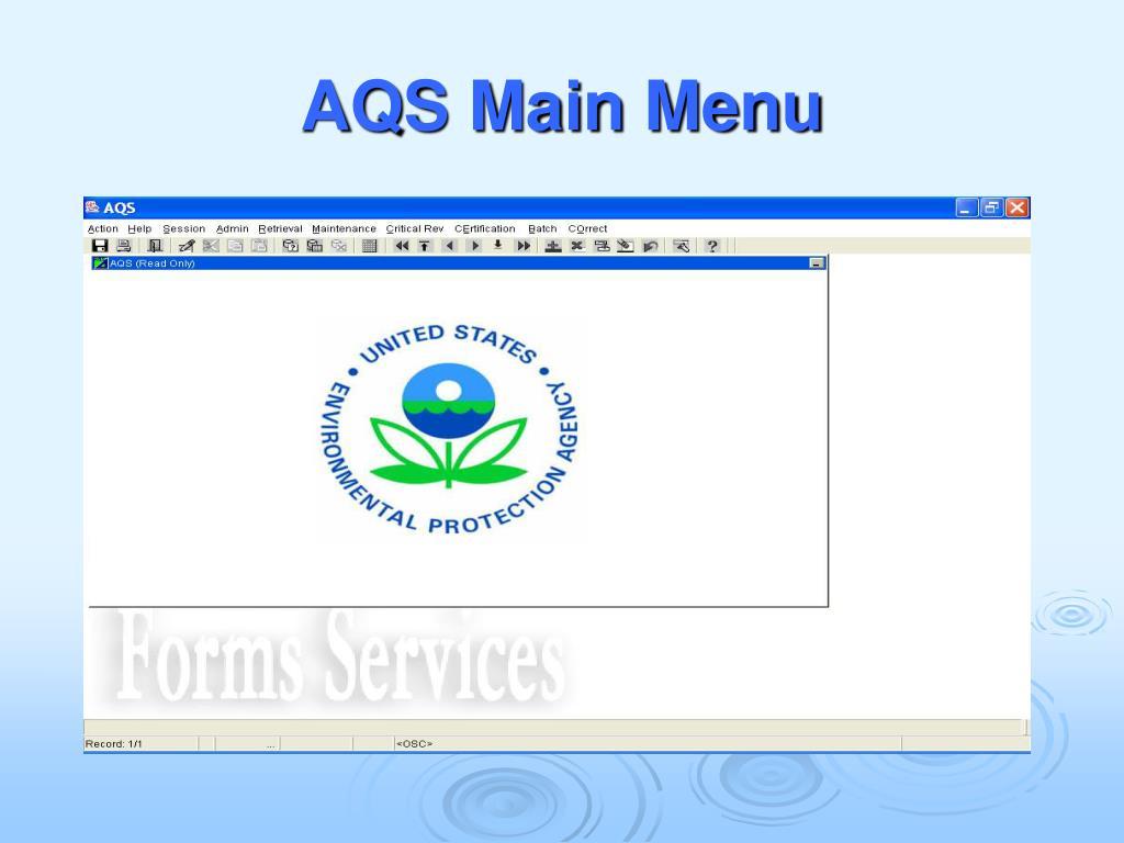 AQS Main Menu