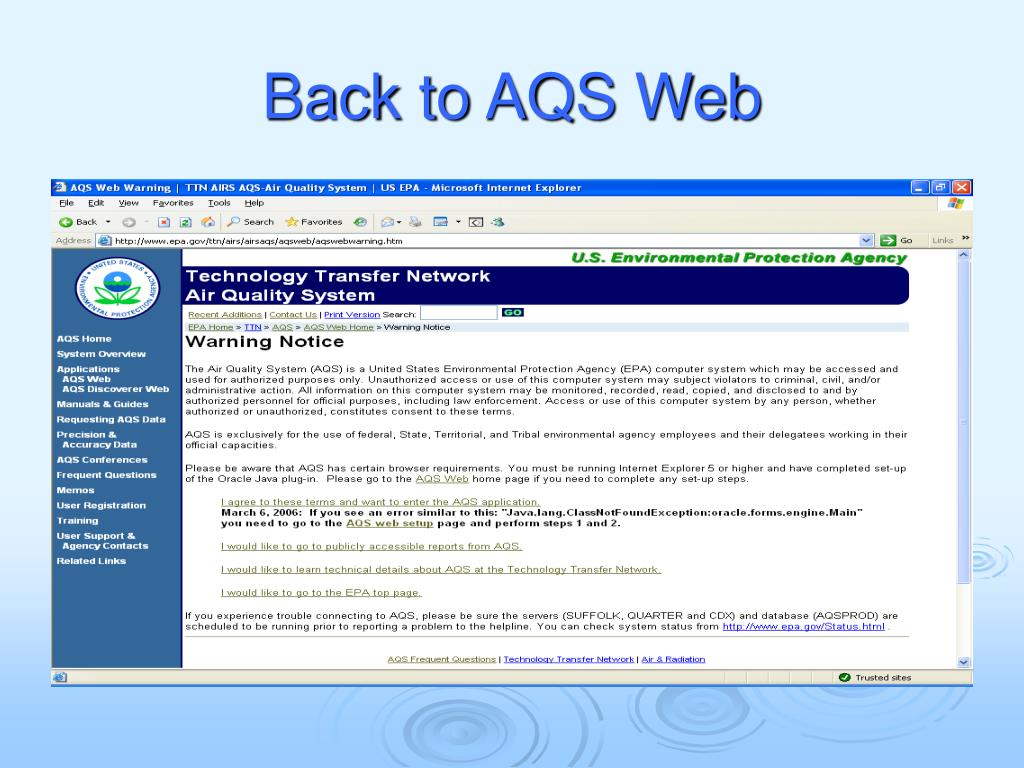 Back to AQS Web