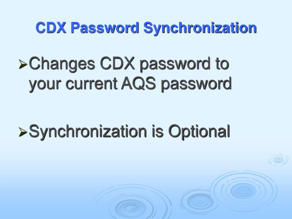 CDX Password Synchronization