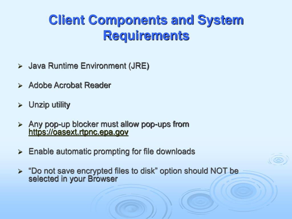 Client Components and System Requirements