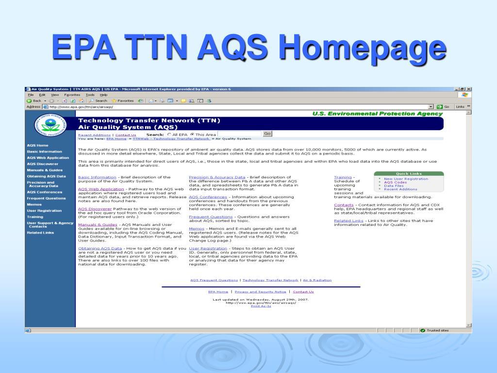 EPA TTN AQS Homepage