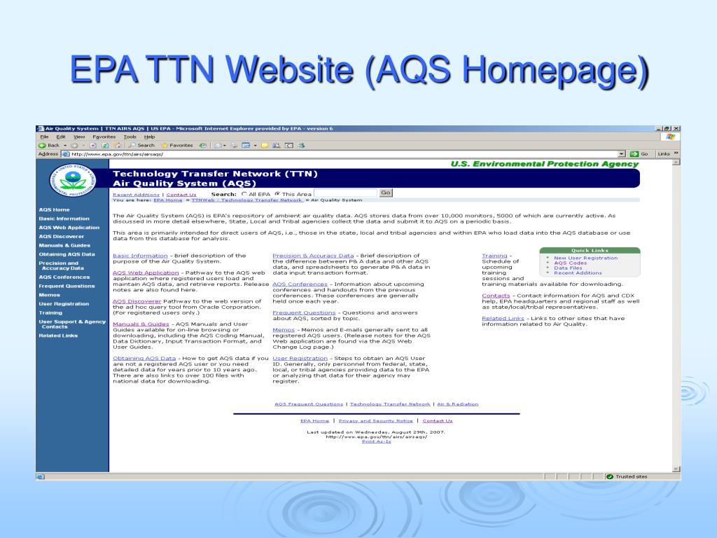 EPA TTN Website (AQS Homepage)