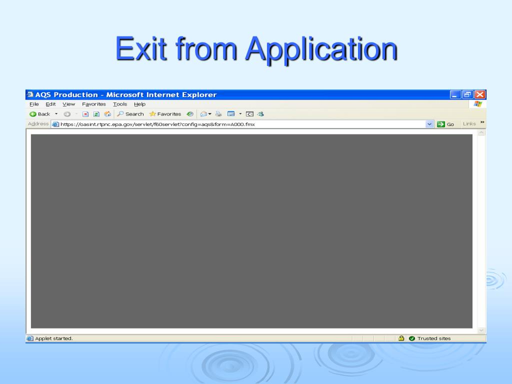 Exit from Application