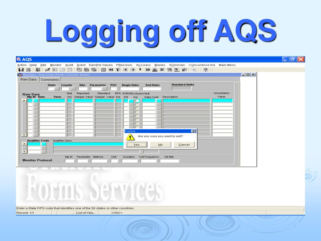 Logging off AQS