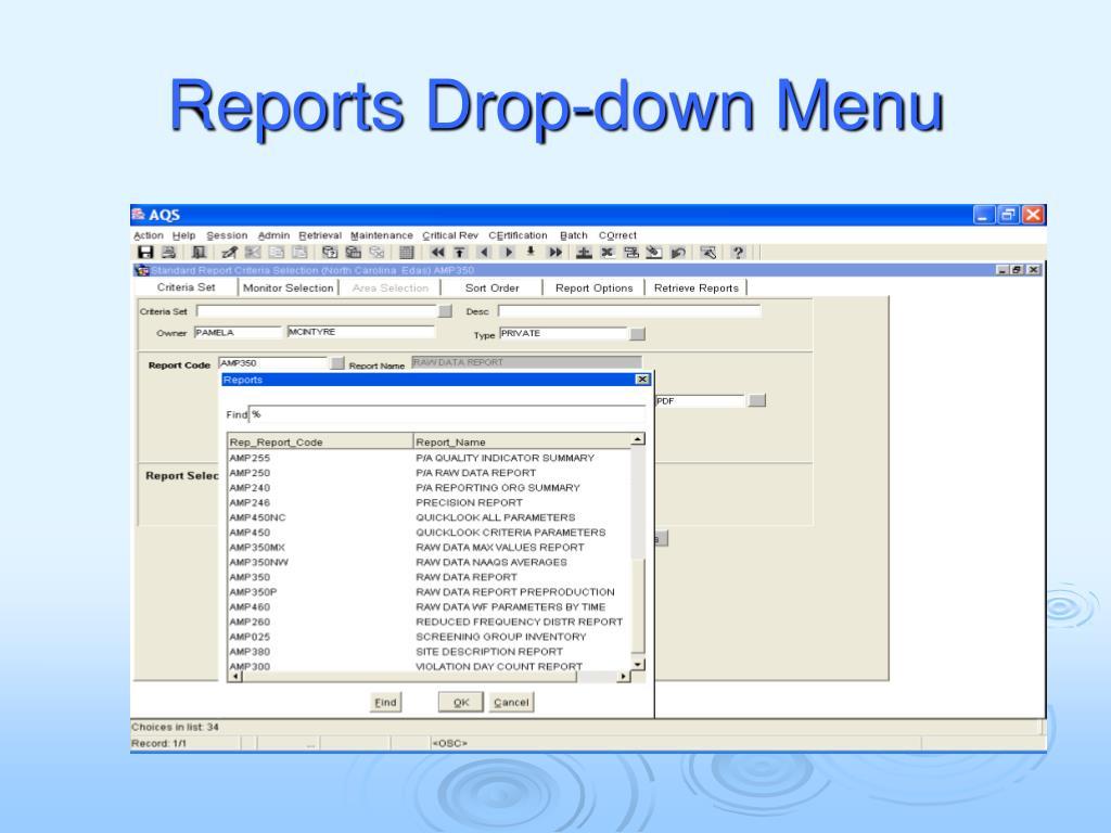 Reports Drop-down Menu