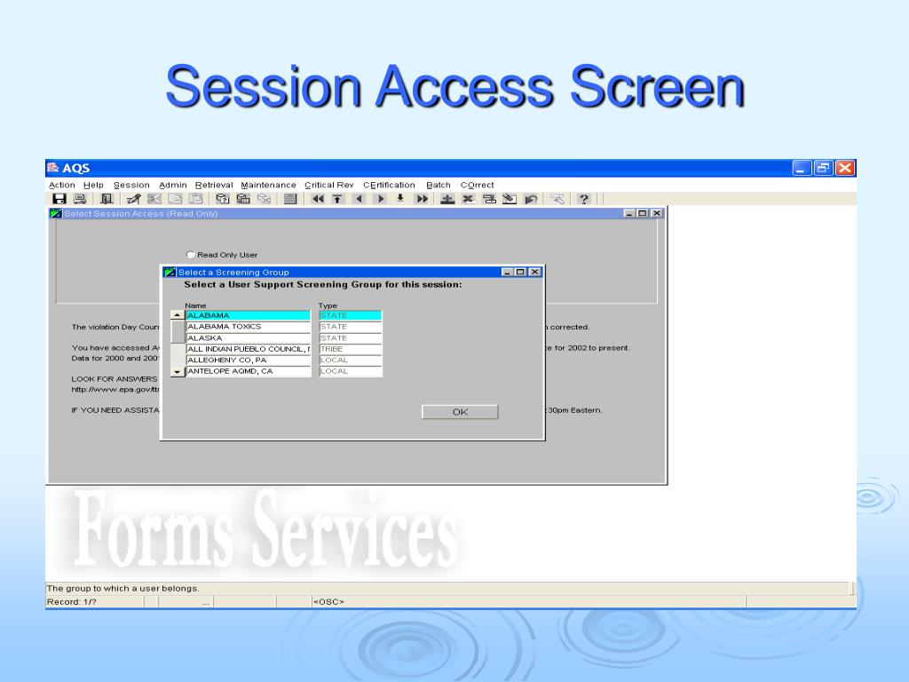 Session Access Screen