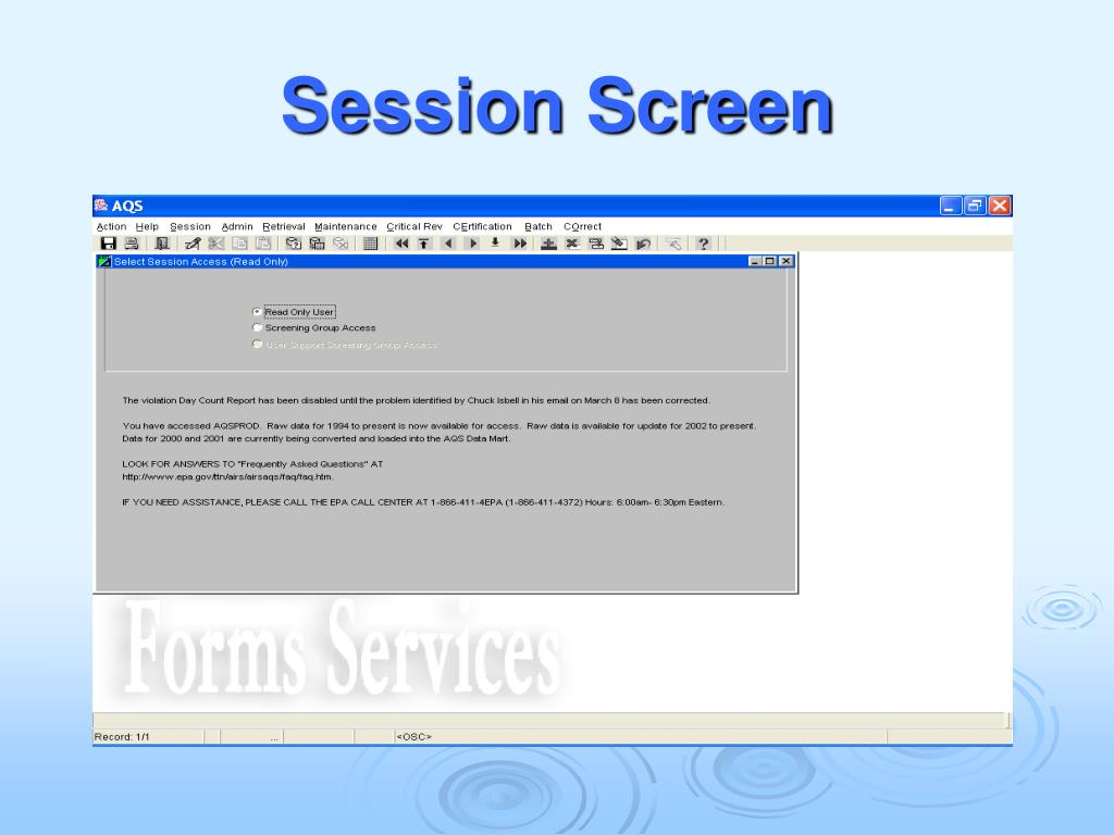 Session Screen