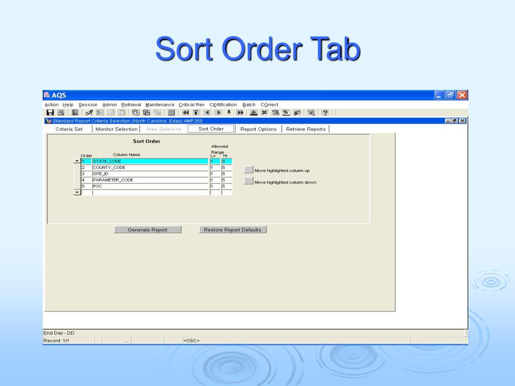 Sort Order Tab