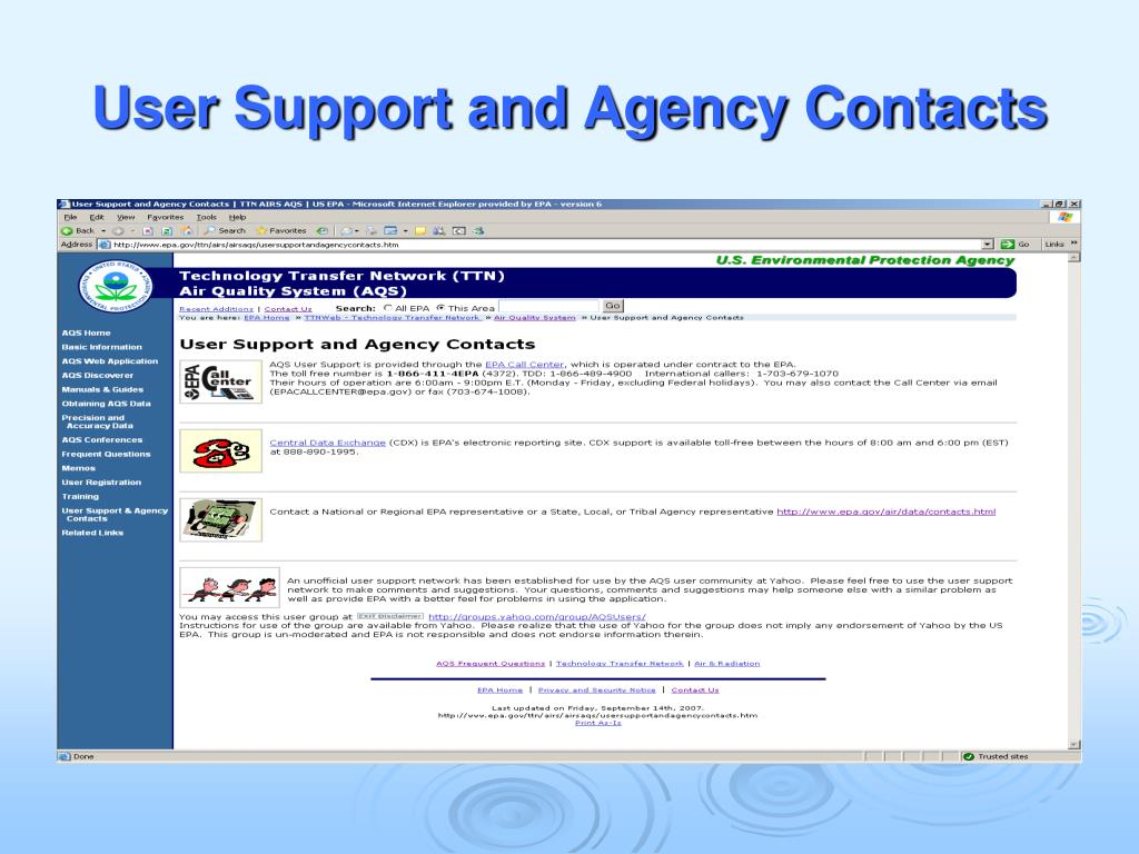 User Support and Agency Contacts
