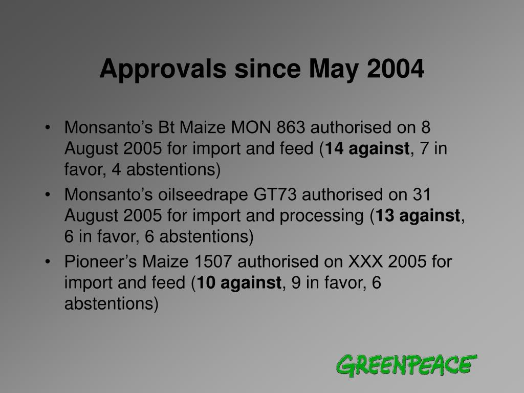 Approvals since May 2004